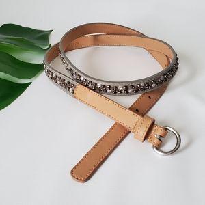 LIVE LOVE LOFT Beaded Vegan Leather Thin Belt